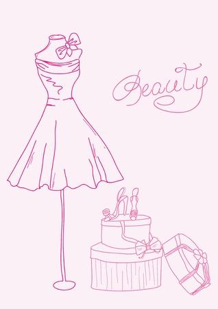 Moda estilizada garabatos - vestido de dama y zapatos