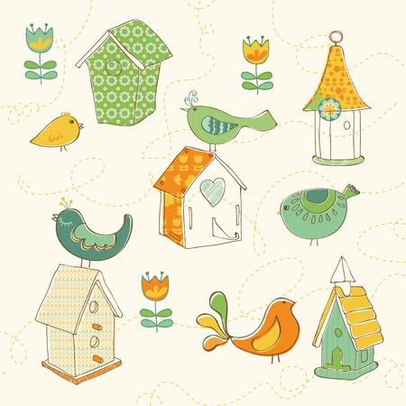 Garabatos de aves y aves casas - para dise�o y scrapbook Vectores