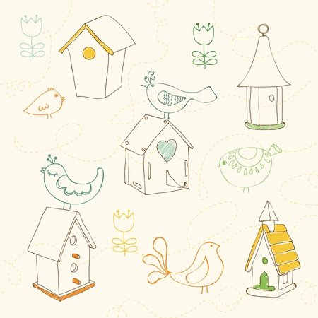 Birds and Bird Houses doodles - for design and scrapbook Vector