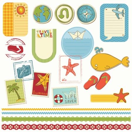 Summer holiday scrapbook set Stock Vector - 10136963