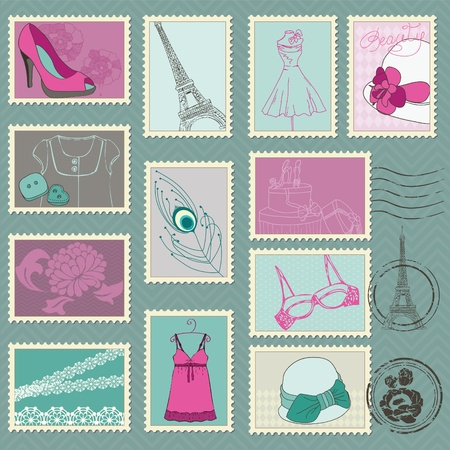 postal card: Fashion Stamp Collection - for your design and scrapbook Illustration