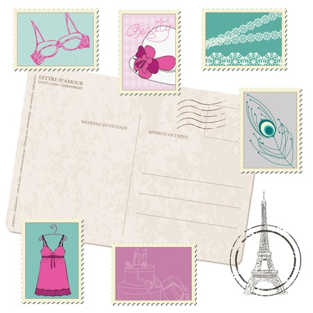 fashion boutique: Retro Postcard with Set of Fashion Stamps Illustration