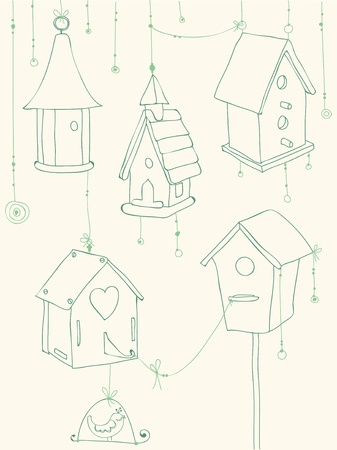 Greeting Card with Birds and Bird Houses doodles - for design and scrapbook Vector