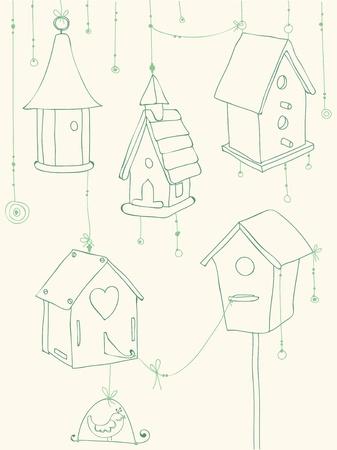Tarjeta de felicitación con aves y garabatos Casas del pájaro - para el diseño y libro de recuerdos Ilustración de vector
