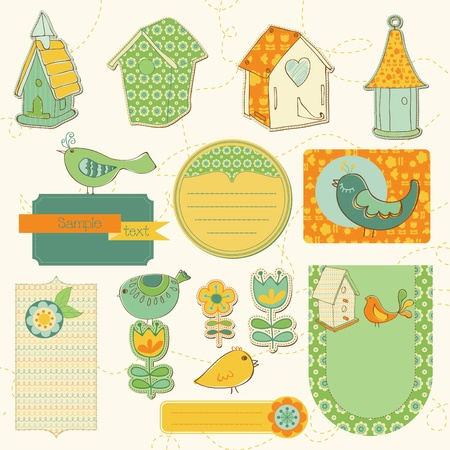 Baby Scrap with Birds and Bird Houses Vector