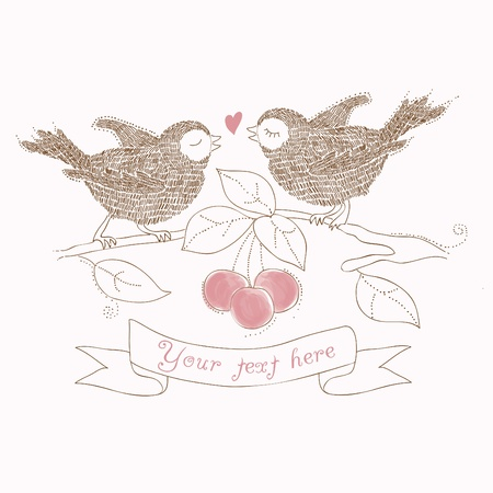 love birds: Birds in Love - beautiful card with place for your text