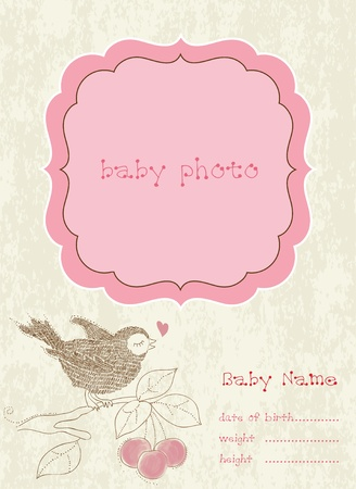 baby girl: Baby Girl Arrival Card with Photo Frame Illustration