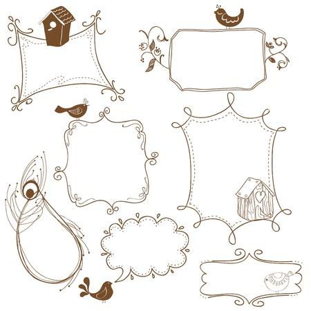 Dulce Doodle marcos con aves y aves casas Ilustración de vector