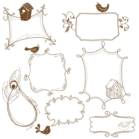 Sweet Doodle Frames with Birds and Bird Houses Vector