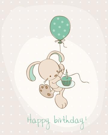 silhouette lapin: Carte de voeux anniversaire avec Bunny Mignon