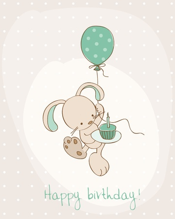 happy birthday text: Greeting Birthday Card with Cute Bunny