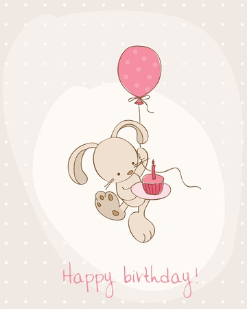 beauty birthday: Greeting Birthday Card with Cute Bunny