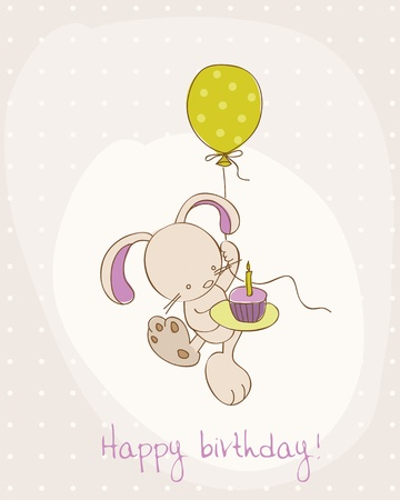 welcome party: Greeting Birthday Card with Cute Bunny