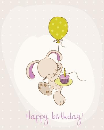 welcome party: Tarjeta de felicitaci�n de cumplea�os con Cute Bunny