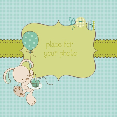 scraps: Baby Greeting Card with Photo Frame and place for your text in vector Illustration