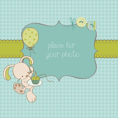 plush: Baby Greeting Card with Photo Frame and place for your text in vector Illustration