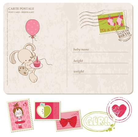 balloon girl: Baby Girl Greeting Postcard with set of stamps