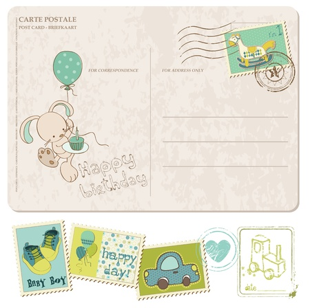 Baby Boy Birthday Postcard with set of stamps Stock Vector - 10462970