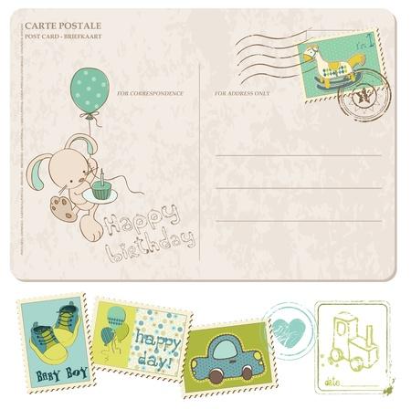 Baby jongen verjaardag ansichtkaart met set van postzegels