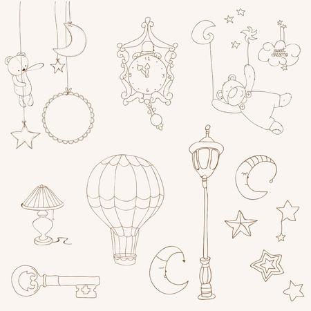 vintage teddy bears: Sweet Dreams - elementi di Design per album bambino Vettoriali