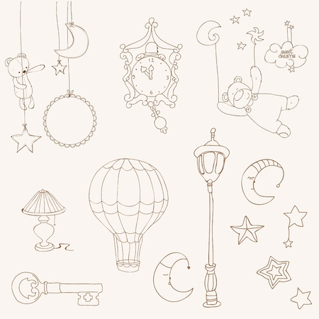 Sweet Dreams - Design Elements for baby scrapbook Illustration
