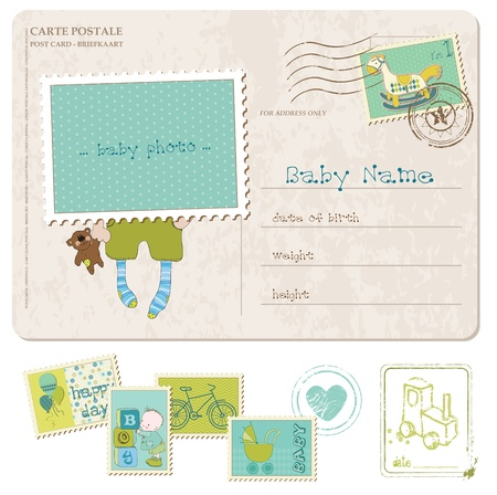 cute baby boy: Baby Boy Birthday Postcard with set of stamps