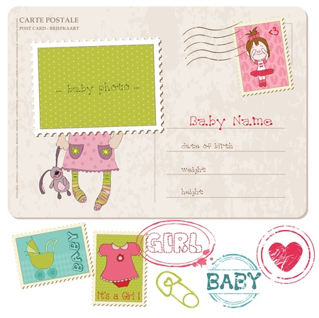 Baby Girl Greeting Postcard with place for your photo and text- and set of stamps Stock Vector - 10462965