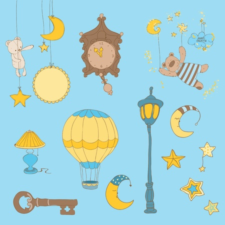 dulces sue�os: Sweet Dreams - elementos de dise�o para la colecci�n de recortes de beb� Vectores