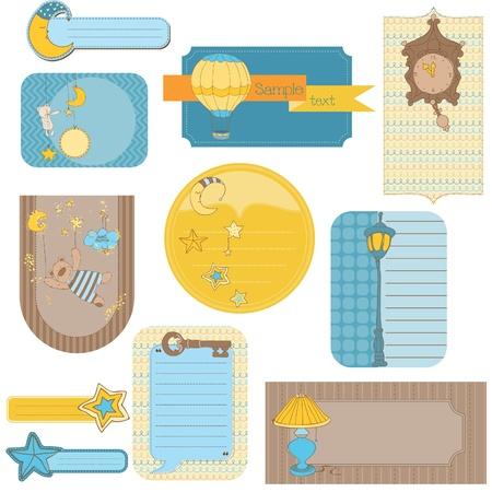 vintage teddy bears: Elementi di design per scrapbook bambino - Sweet Dreams tag carino Vettoriali