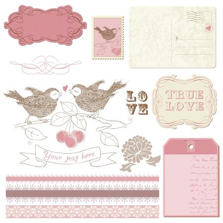 postcard: Scrapbook design elements - Birds in love