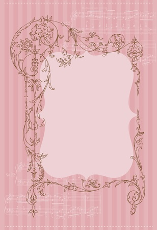 graphic retro: Beautiful Retro Card with photo frame- for invitation, greetings, congratulation, wedding Illustration