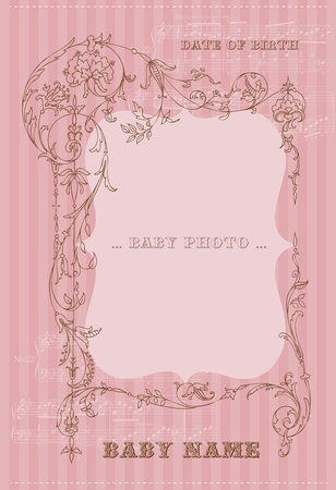 Beautiful Arrival Vintage Card - with place for your text and photo Vector