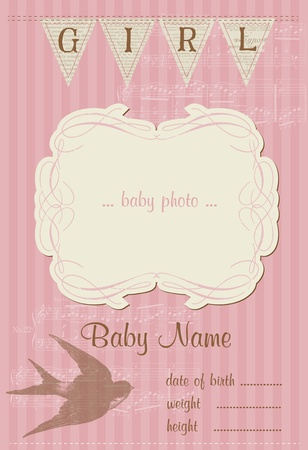 Beautiful Arrival Vintage Card - with place for your text and photo Stock Vector - 10462969