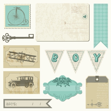 car garden: Scrapbook design elements - Vintage Boy Set