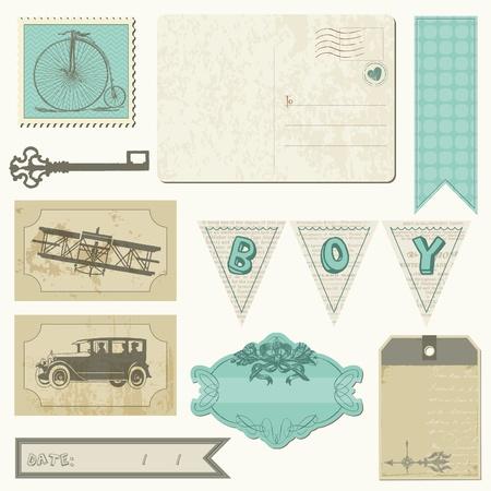 stationary bike: Scrapbook design elements - Vintage Boy Set
