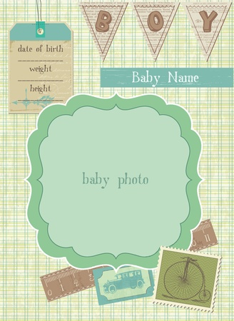 baby arrival: Baby Boy Arrival Card with Photo Frame and place for your text