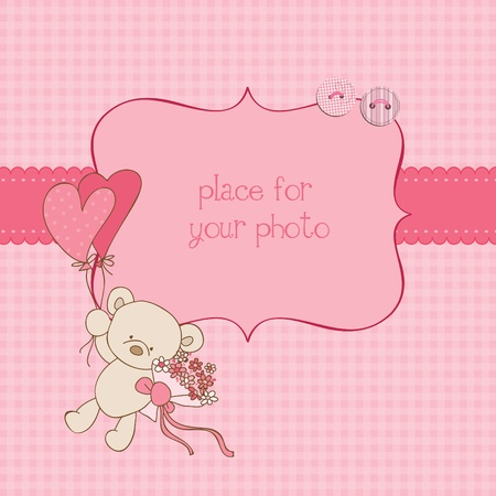 announcements: Baby Greeting Card with Photo Frame and place for your text in vector Illustration