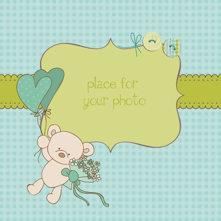balloons teddy bear: Baby Greeting Card with Photo Frame and place for your text in vector Illustration