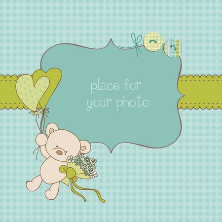 newborn animal: Baby Greeting Card with Photo Frame and place for your text in vector Illustration