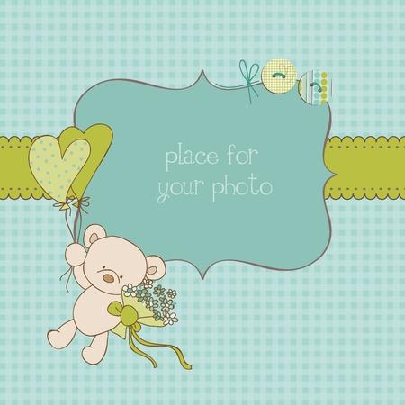 Tarjeta de felicitaci�n de beb� con marcos y lugar para el texto en el vector