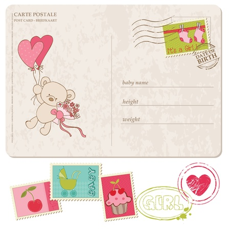 postal card: Baby Girl Greeting Postcard with set of stamps