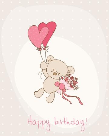 Greeting Birthday Card with Cute Bear Stock Vector - 10462898