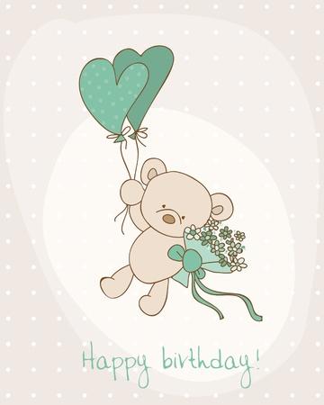 Greeting Birthday Card with Cute Bear Stock Vector - 10462900