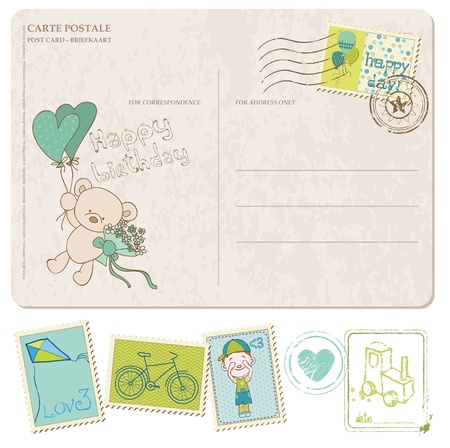 Baby Boy Birthday Postcard with set of stamps Stock Vector - 10462967