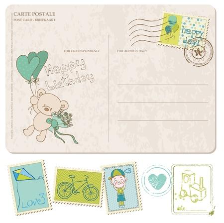 teddy: Baby Boy Geburtstag Postkarte mit einem Satz von Briefmarken Illustration