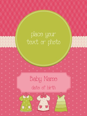 aankomst: Baby Arrival Card met Photo Frame Stock Illustratie