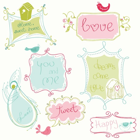 scraps: Sweet Doodle Frames with Birds and Bird Houses Illustration
