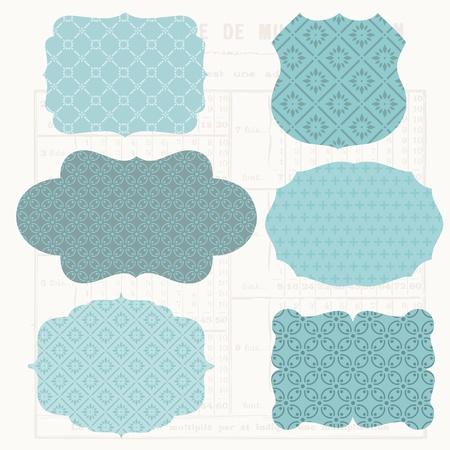 scrapbook cover: Vintage Design elements for scrapbook - Old tags and frames