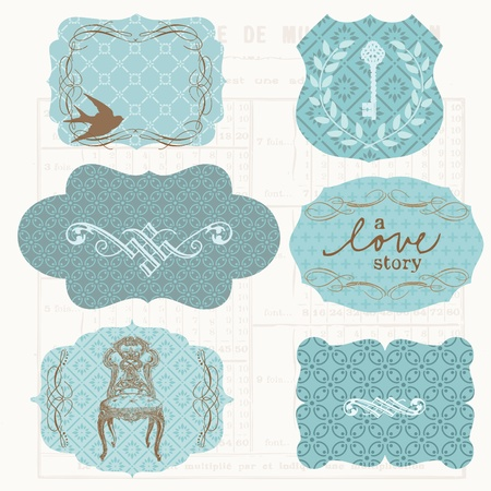 vintage chair: Vintage Design elements for scrapbook - Old tags and frames