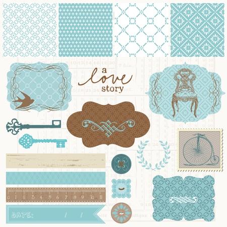 bicicleta retro: Elementos de dise�o de Scrapbook - cosecha amor Set